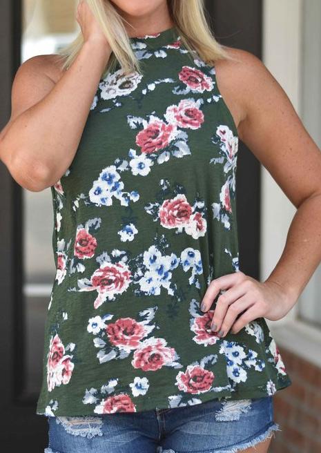 Bluză de damă, fashion, slim fit, halterneck, fără mâneci, cu imprimeu floral