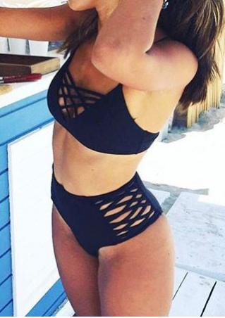 Solid Criss-Cross Hollow Out Bikini Set