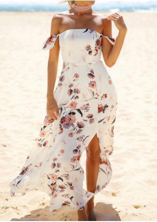 Floral Off Shoulder Backless Slit Maxi Dress without Necklace