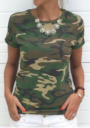 Camouflage Printed T-Shirt without Necklace