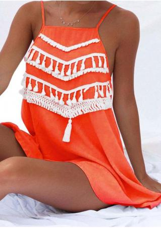 Tassel Splicing Strappy Backless Mini Dress without Necklace