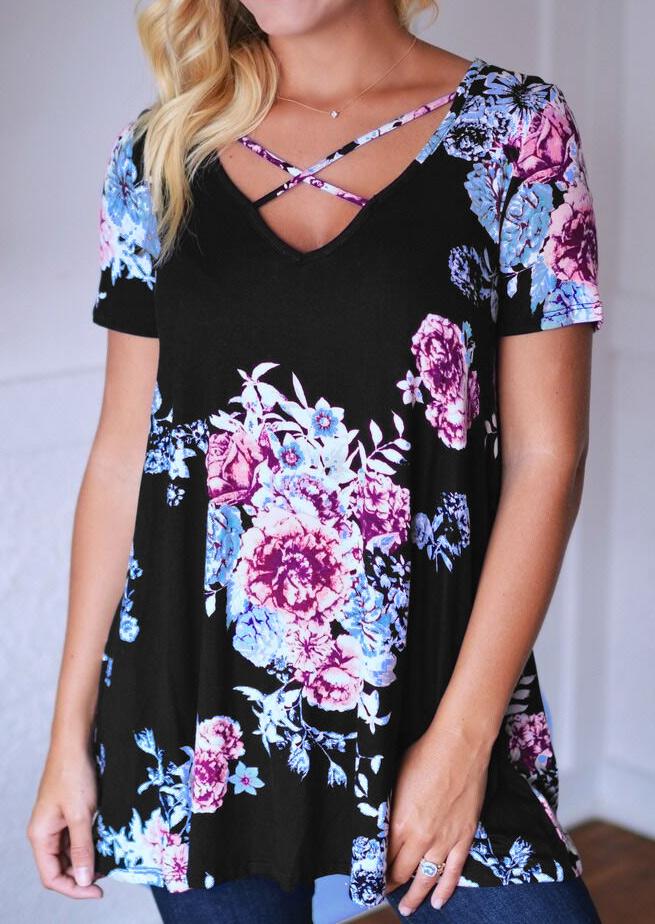 Bluză de damă, fashion, slim fit, cu imprimeu floral, mâneci scurte și guler în v