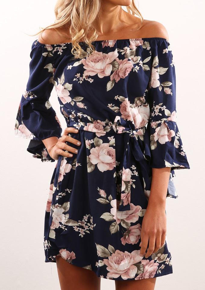 Floral Off Shoulder Flare Sleeve Mini Dress with Belt