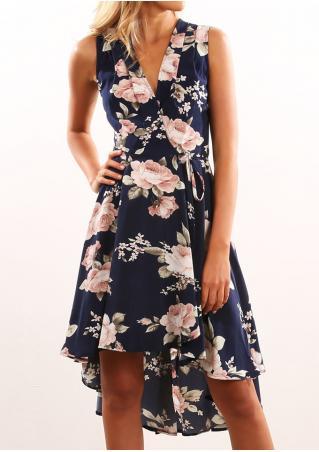 Floral Deep V-Neck Asymmetric Dress with Belt