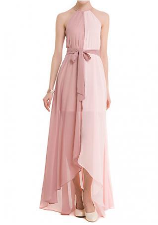 Chiffon Tassel Asymmetric Maxi Dress with Belt