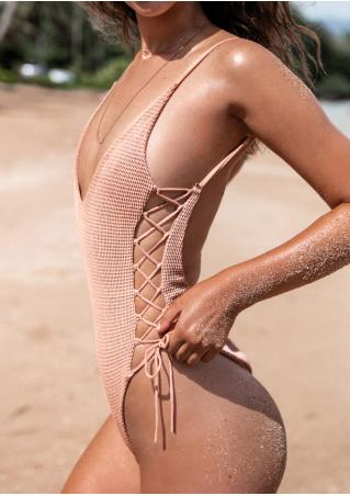 Solid Lace Up Swimsuit without Necklace