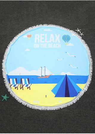 Relax On The Beach Tassel Round Beach Blanket