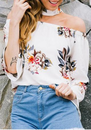 Floral Off Shoulder Blouse with Choker Detail