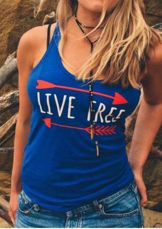 Live Free Arrow Tank without Necklace