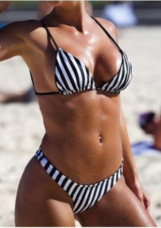 Striped Halter Bikini Set