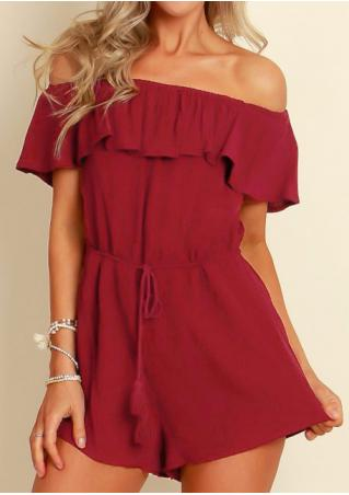Solid Off Shoulder Layered Drawstring Romper