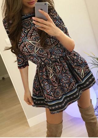 Ethnic Printed Mini Dress