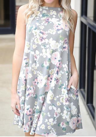 Floral Hollow Out Pocket Mini Dress