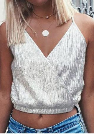Deep V-Neck Strap Crop Top without Necklace