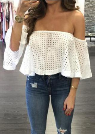 Solid Hollow Out Off Shoulder Crop Top