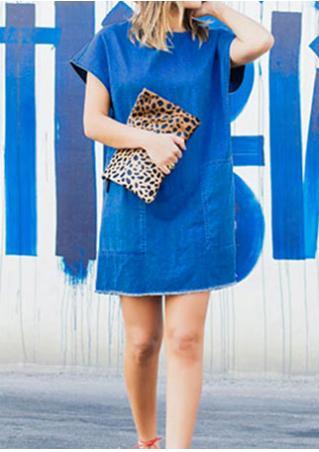 Solid Denim Casual Mini Dress