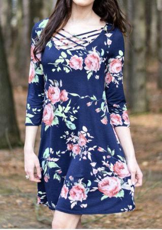 Floral Criss-Cross Casual Mini Dress