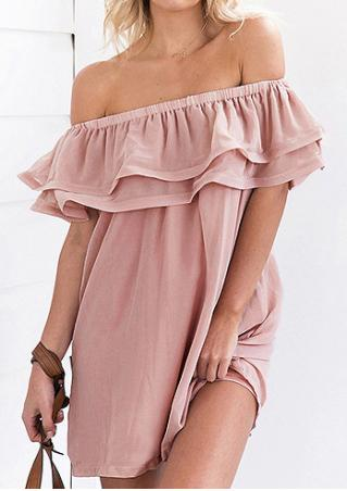 Solid Off Shoulder Layered Mini Dress without Necklace