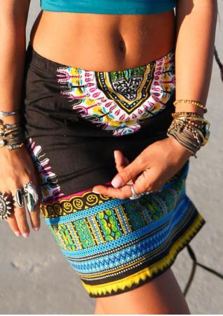 Tribal Printed Tie Skirt