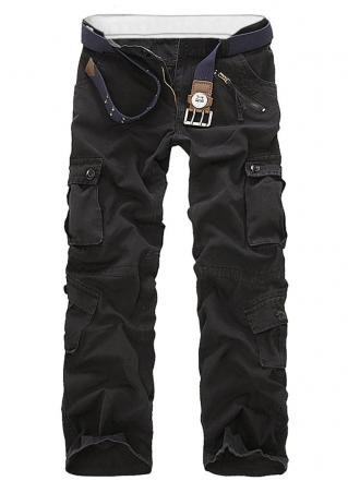 Solid Cargo Pants without Belt