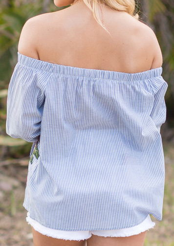 Image of Applique Off Shoulder Blouse without Necklace