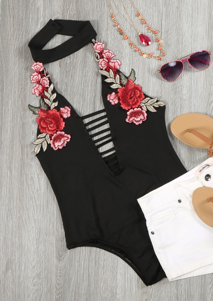 Image of Applique Hollow Out Romper