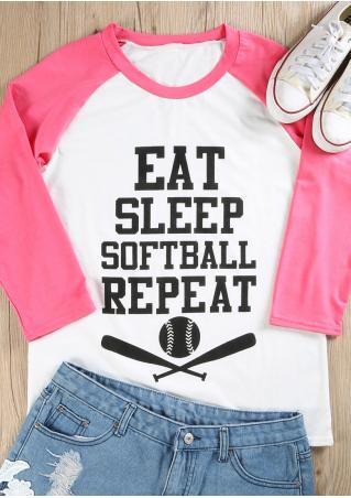 Eat Sleep Softball Repeat Baseball T-Shirt