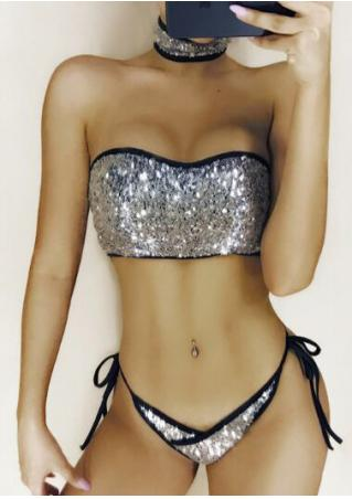 Sequined String Bikini Set with Choker Detail