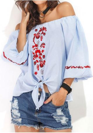 Floral Embroidery Off Shoulder Lantern Sleeve Blouse without Necklace