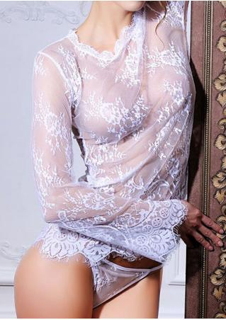 Solid Lace Floral See-Through Long Sleeve Lingerie Set