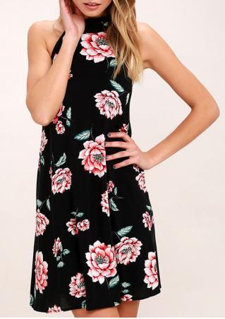 Floral Halter Backless Mini Dress
