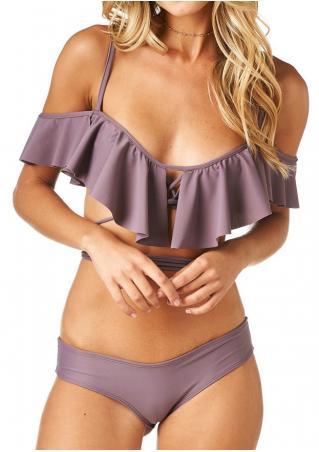 Solid Flounce Criss-Cross Bikini Set without Necklace