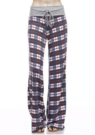 Plaid Drawstring Wide Leg Pants
