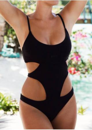 Solid Hollow Out Swimsuit