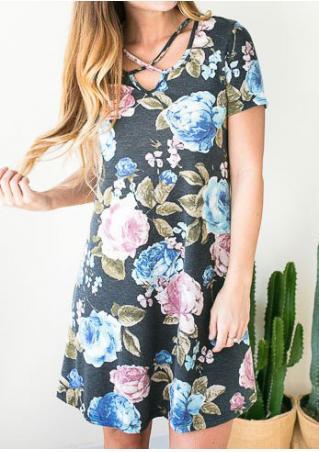 Floral Criss-Cross Casual Dress