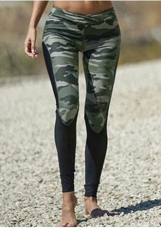 Camouflage Printed Splicing Leggings
