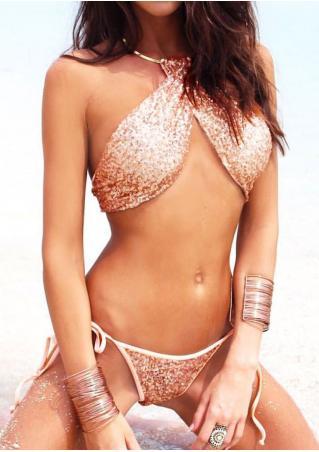 Sequined Cross String Halter Bikini Set