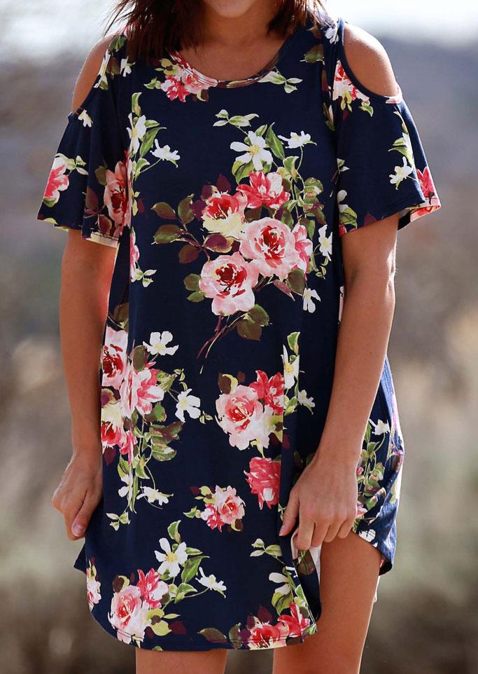 Floral Cold Shoulder Mini Dress 29012