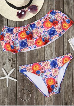Floral Off Shoulder Layered Bikini Set Floral