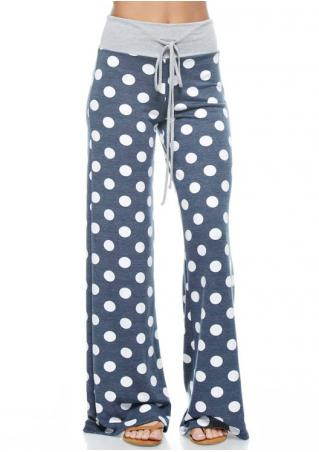 Polka Dot Drawstring Flare Pants