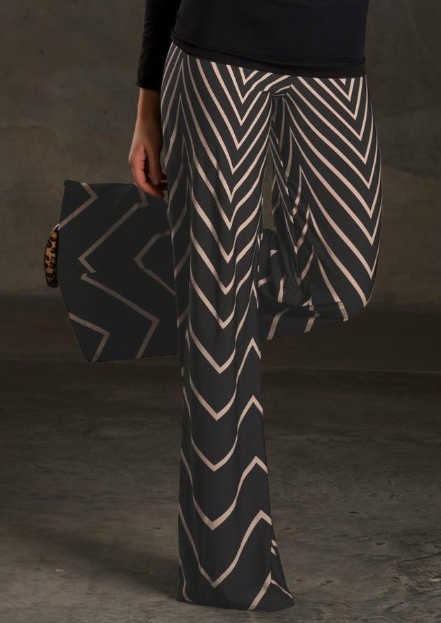 Pantaloni de damă, casual, slim fit, evazați, cu imprimeu și talie înaltă