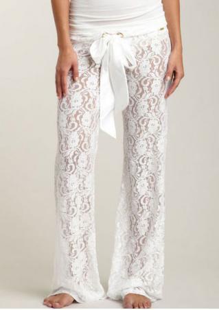 Solid Lace Floral Wide Leg Pants