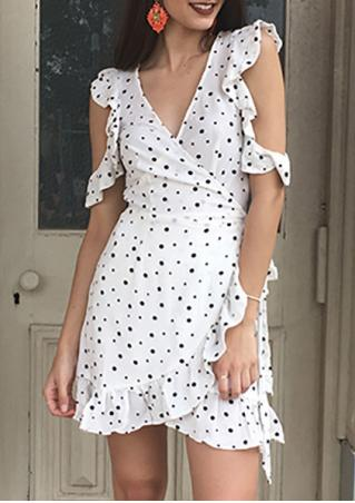 Polka Dot Ruffled Cold Shoulder Mini Dress with Belt