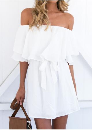 Solid Off Shoulder Frill Mini Dress with Belt