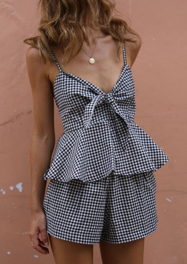 Image of Plaid Tie Tank and Shorts Set without Necklace