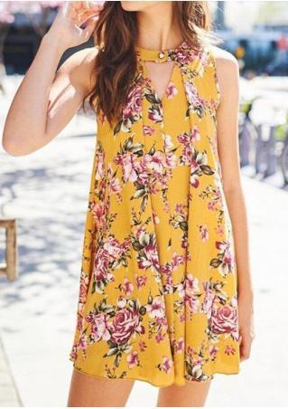 Floral Button Mini Dress