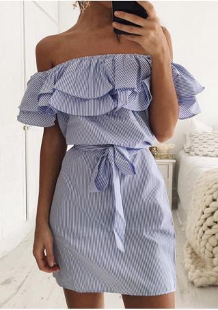 Striped Flouncing Off Shoulder Mini Dress with Belt