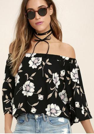 Floral Off Shoulder Blouse without Necklace