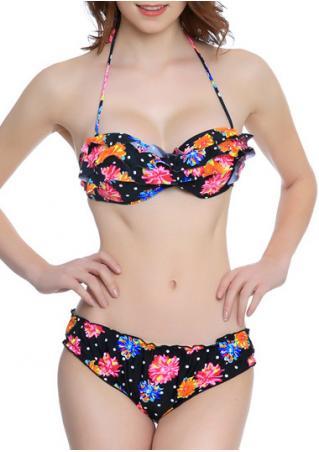 Floral Layered Halter Bikini Set Floral