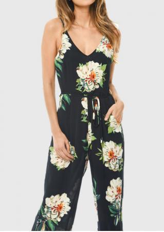 Floral V-Neck Jumpsuit with Belt